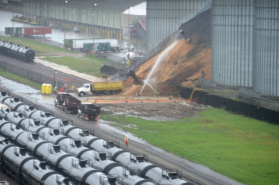 The smoldering silo raising health concerns in Port Arthur collapsed early Sunday morning. Filled with wood pellets, the fire has been slowly burning since April.  Photo taken Sunday, June 4, 2017 Sara Flores/The Enterprise Photo: Guiseppe Barranco, Guiseppe Barranco/The Enterprise