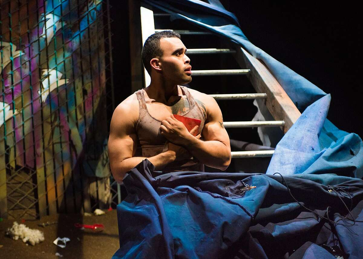 """A (Ed Berkeley) has trained all his life to be a hero but now faces battle in NCTC's """"warplay."""""""