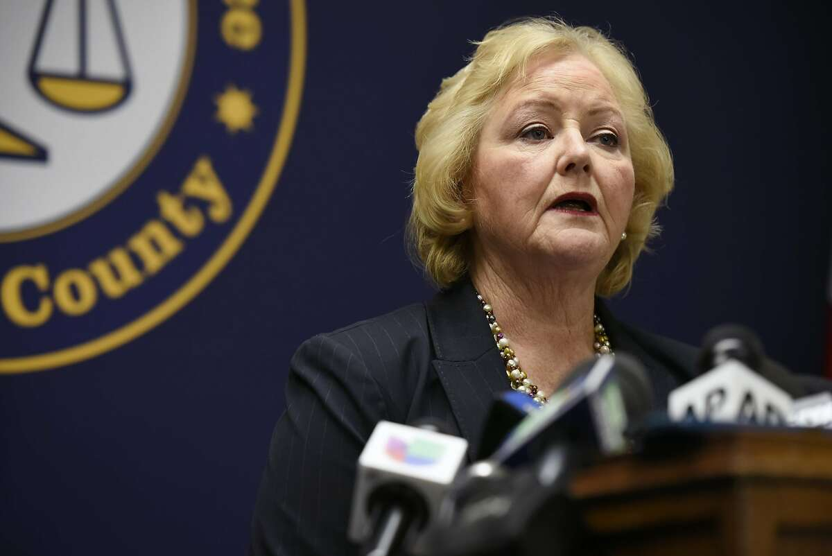 Alameda County District Attorney Nancy O'Malley, photographed during a June 2017 press conference announcing criminal charges in the Ghost Ship fire, said Tuesday she won't be running for re-election in 2022.