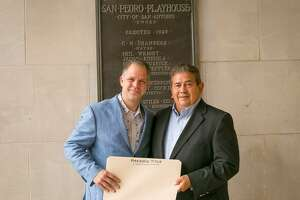 """John R. """"Rick"""" Aleman (right) and his family have donated a parcel of land to The Playhouse San Antonio, which is headed by CEO and Artistic Director George Green (left)."""
