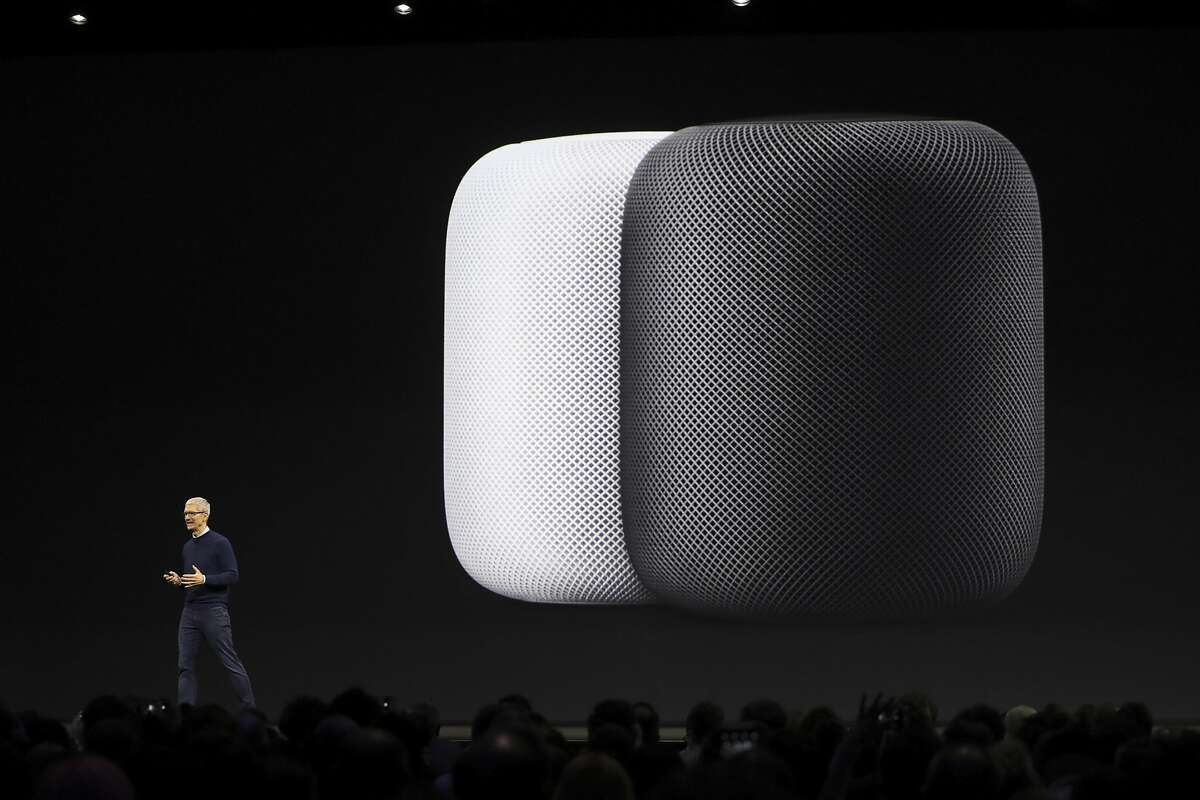 Tim Cook, Apple's chief executive, gives a sneak peek of HomePod, a speaker, to rival Amazon's Echo and Google's Home, at the Apple Worldwide Developers Conference at the McEnery Convention Center in San Jose, Calif., June 5, 2017. (Jim Wilson/The New York Times)