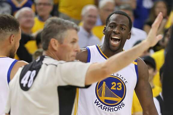 Golden State Warriors' Draymond Green argues a foul call while playing Cleveland Cavaliers in 3rd quarter of Warriors' 132-113 win in Game 2 of NBA Finals at Oracle Arena in Oakland, Calif., on Sunday, June 4, 2017.