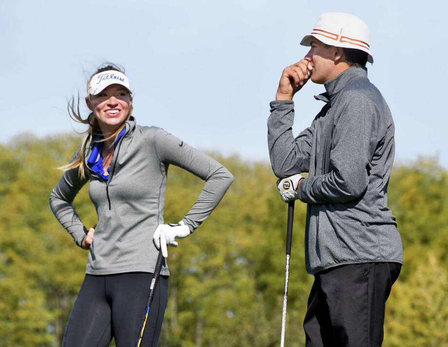 Shaker's Madison Braman, left, and Austin Fox of Bethlehem High during the Section II golf state qualifier at Orchard Creek Golf Club Saturday Oct. 15, 2016 in Altamont, NY.  (John Carl D'Annibale / Times Union) Photo: John Carl D'Annibale / 20038363A