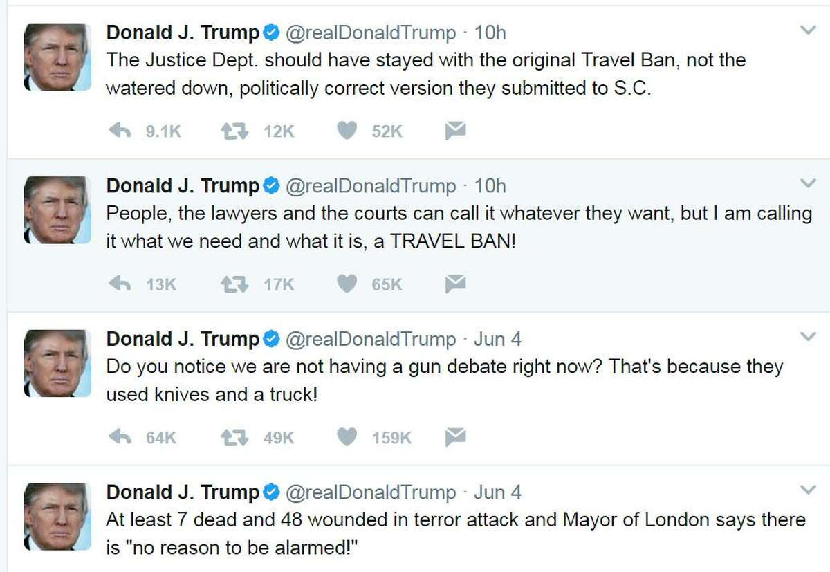 Recent tweets by President Donald Trump.