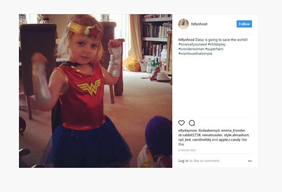 Daisy is going to save the world!! #loveisallyouneed #childsplay #wonderwoman #superhero #wishitwasthatsimple A post shared by Kate Heysmond-Hart (@hillysfood) on Jun 5, 2017 at 8:59am PDT