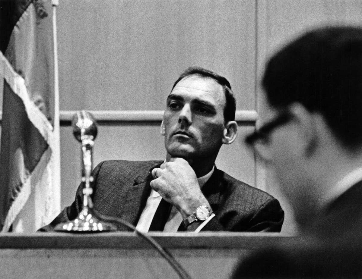 Pasadena police and fire commissioner Quincy James in 1964. James punched Houston Post reporter Gene Goltz outside a room where a grand jury was deliberating.