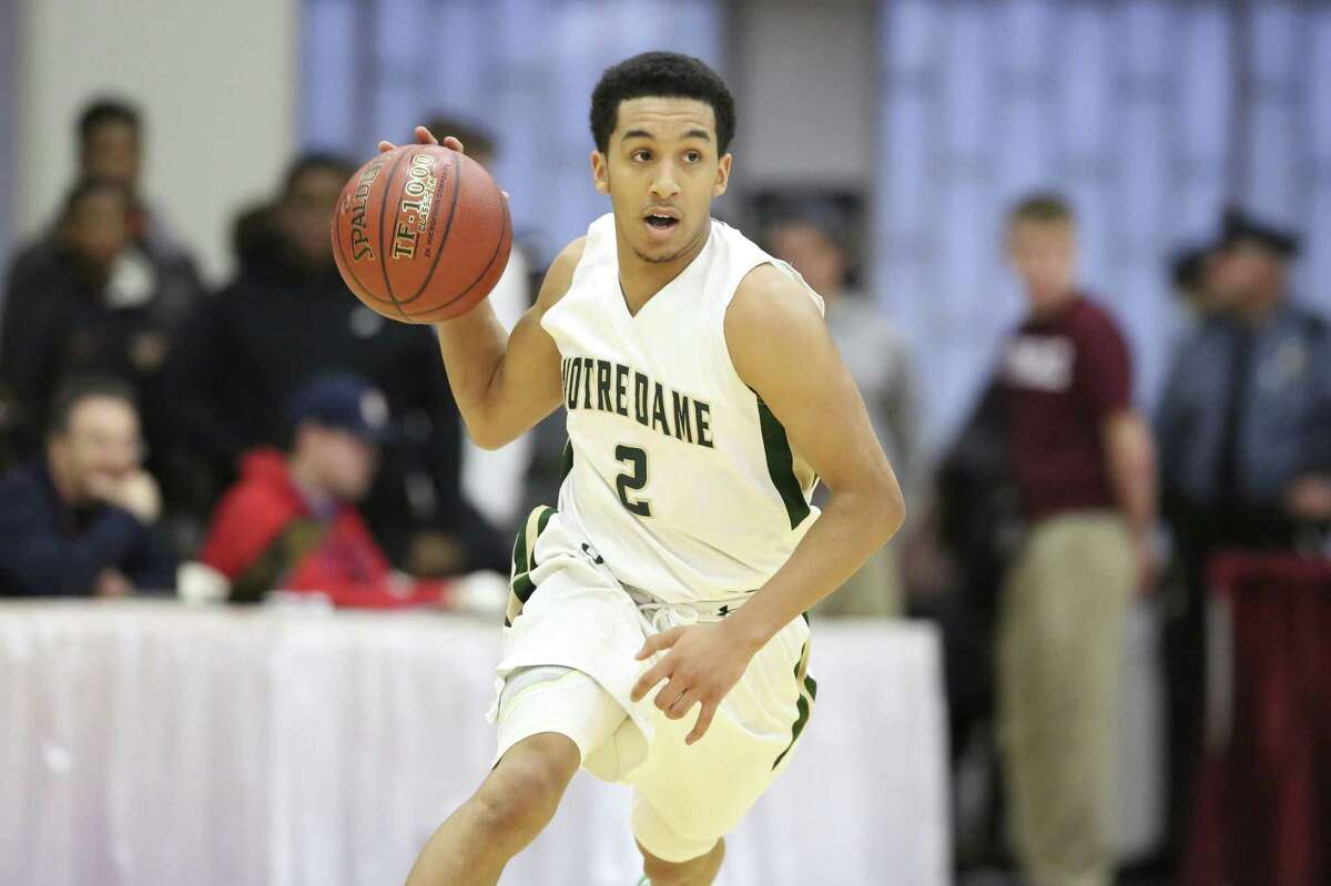 Notre Dame's Tremont Waters #2 in action against Archbishop Molloy during a high school basketball game at the 2017 Hoophall Classic on Saturday, January 14,, 2017, in Springfield, MA. Notre Dame won the game. (AP Photo/Gregory Payan)