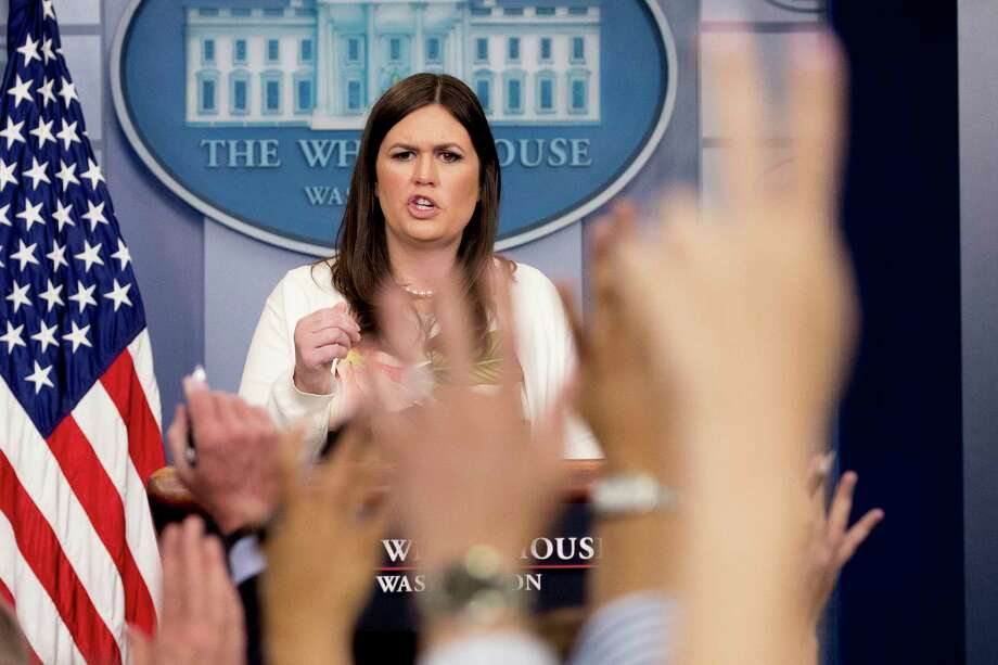 White House deputy press secretary Sarah Huckabee Sanders addressed the travel ban and other topics at the White House on Monday. Photo: Andrew Harnik, STF / Copyright 2017 The Associated Press. All rights reserved.