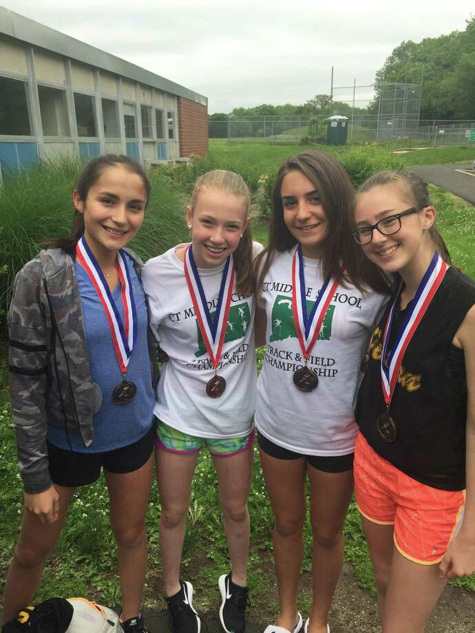From left to right, Alexandra Klein, Daniela Pompa, Bianca Granitto and Gigi Barter of Western Middle School placed fifth in the 4x400 relay race. Photo: Contributed Photo