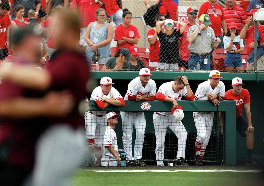 It was painful for UH players to watch A&M celebrate winning a regional on the Cougars' home field. Photo: Karen Warren, Staff Photographer / 2017 Houston Chronicle