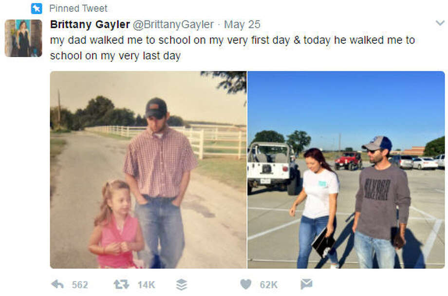 Brittany Gayler tweeted out photos of her first day of school and last day of school. (Brittany Gayler)>>>Sometimes fathers know best. Check out some great advice given by dads.