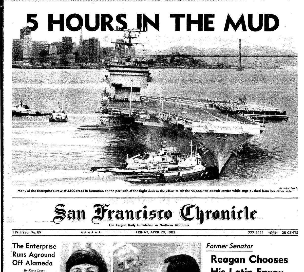 The aircraft carrier Enterprise gets stuck in the Bay off Alameda, April 29, 1983