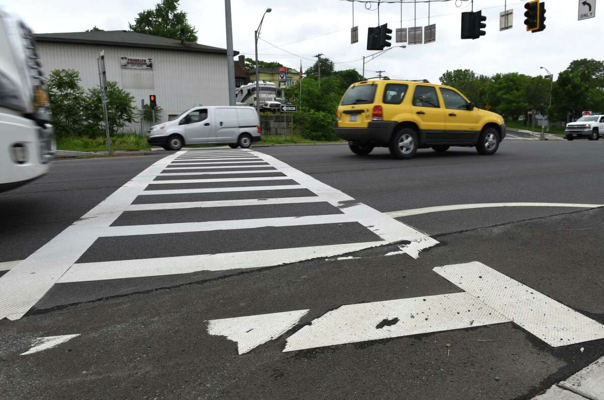 Pedestrian crosswalk on 787 at Bridge Street on Monday, June 5, 2017, in Cohoes, N.Y. The city of Cohoes and the state's Department of Transportation announced plans to spend $15 million to turn Route 787 into a boulevard where officials hope slower speeds will lead to fewer pedestrians being hit by cars. (Will Waldron/Times Union)