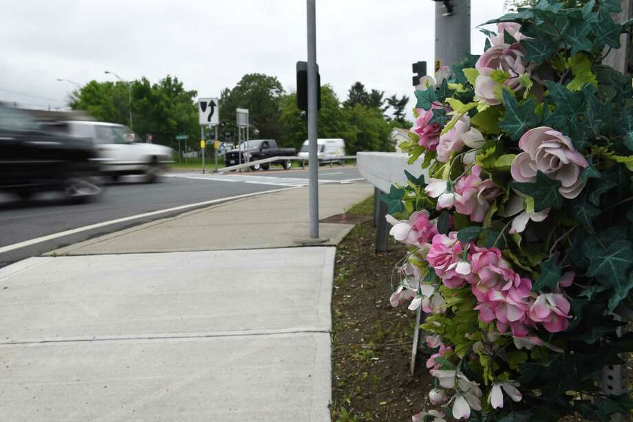 Memorial for a pedestrian who was hit while crossing 787 at Bridge Avenue on Monday, June 5, 2017, in Cohoes, N.Y. The city of Cohoes and the state's Department of Transportation announced plans to spend $15 million to turn Route 787 into a boulevard where officials hope slower speeds will lead to fewer pedestrians being hit by cars. (Will Waldron/Times Union) Photo: Will Waldron / 40040682A