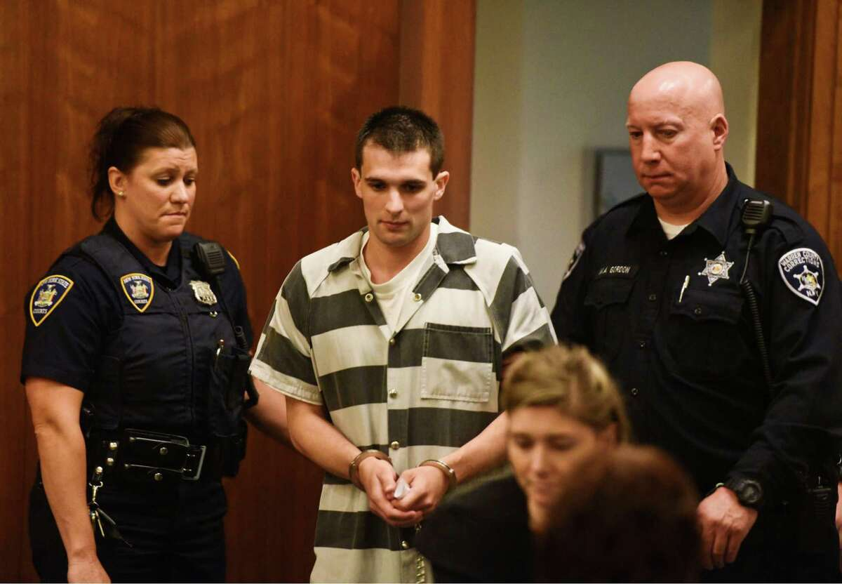 Alexander West is led into Warren County Court on Monday, June 5, 2017, for his sentencing for the fatal boat crash that killed 8-year-old Charlotte McCue and seriously injured her mother in July. West was sentenced to 5 to 15 years for manslaughter. (Pool photo/Shawn LaChapelle, The Post-Star)