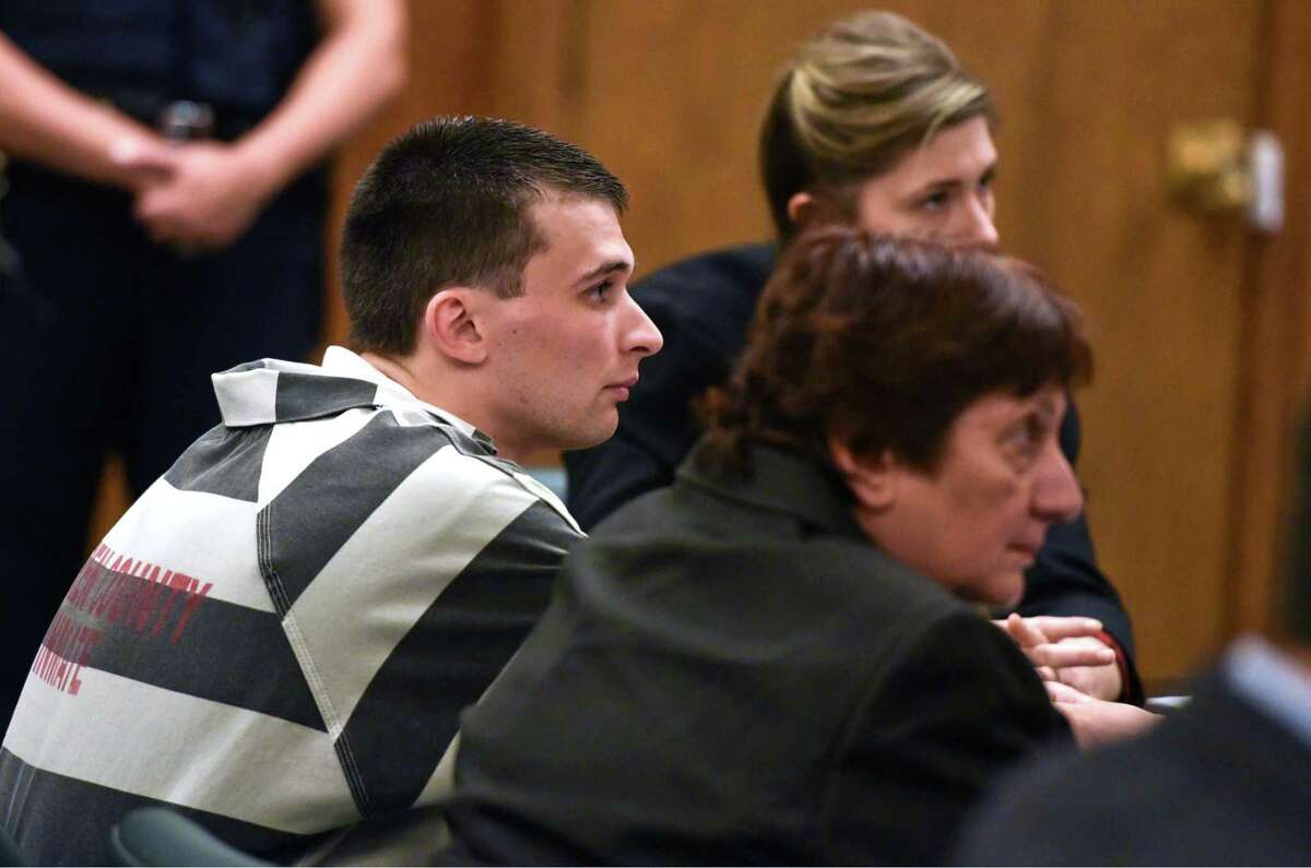Alexander West listens in Warren County Court on Monday, June 5, 2017, during his sentencing for the fatal boat crash that killed 8-year-old Charlotte McCue and seriously injured her mother in July. West was sentenced to 5 to 15 years for manslaughter. (Pool photo/Shawn LaChapelle, The Post-Star)