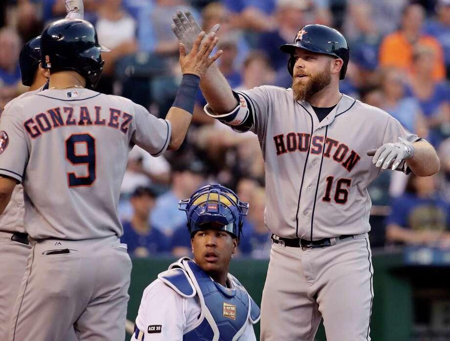 Houston Astros' Brian McCann (16) celebrates with Marwin Gonzalez (9) after hitting a two-run home run during the fourth inning of a baseball game against the Kansas City Royals, Monday, June 5, 2017, in Kansas City, Mo. (AP Photo/Charlie Riedel) Photo: Charlie Riedel, Associated Press / Copyright 2017 The Associated Press. All rights reserved.