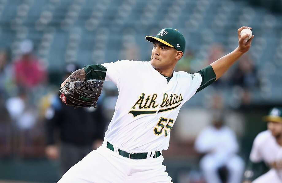 OAKLAND, CA - JUNE 05:  Sean Manaea #55 of the Oakland Athletics pitches against the Toronto Blue Jays in the first inning at Oakland Alameda Coliseum on June 5, 2017 in Oakland, California.  (Photo by Ezra Shaw/Getty Images) Photo: Ezra Shaw, Getty Images