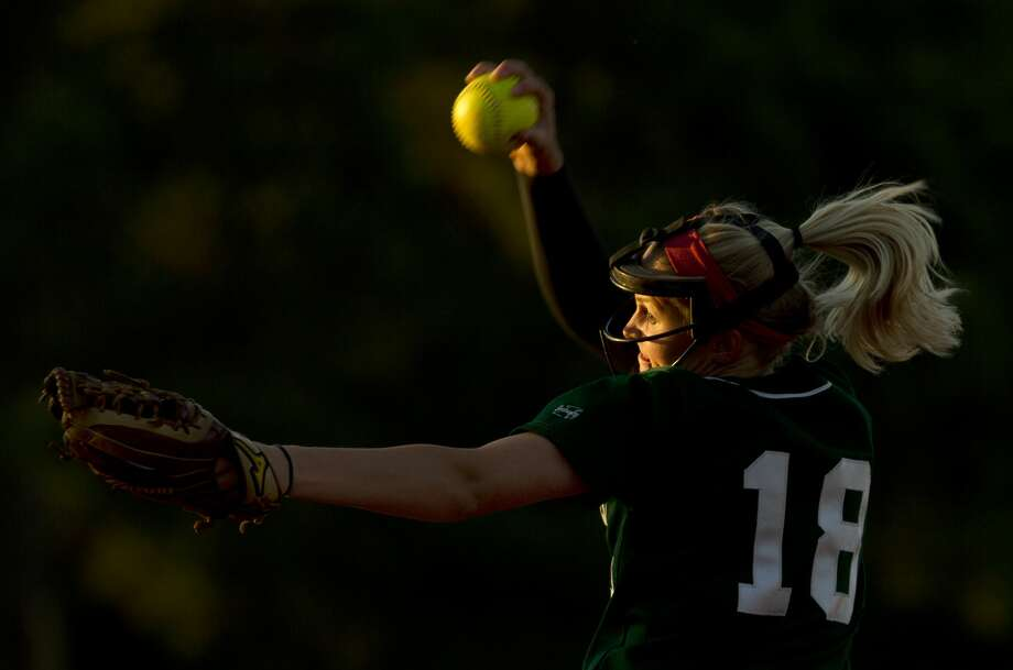 The Woodlands pitcher Emily Langkamp (18) throws during the second inning of a District 12-6A high school softball game Friday, April 7, 2017, in The Woodlands. Photo: Jason Fochtman/Houston Chronicle