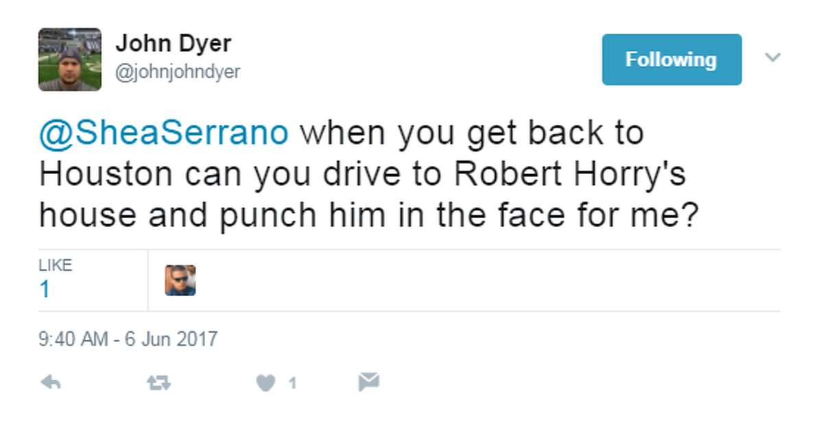 @johnjohndyer: @SheaSerrano when you get back to Houston can you drive to Robert Horry's house and punch him in the face for me?