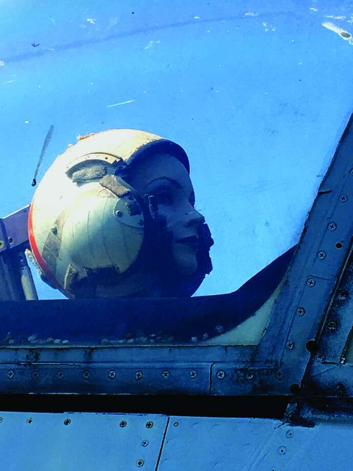 Mabel, the display pilot in the U.S. Navy A7 Corsair on display at Edwardsville Township Community Park, has kept watch over Township Park for more than 25 years. She is still missing. Photo: For The Intelligencer