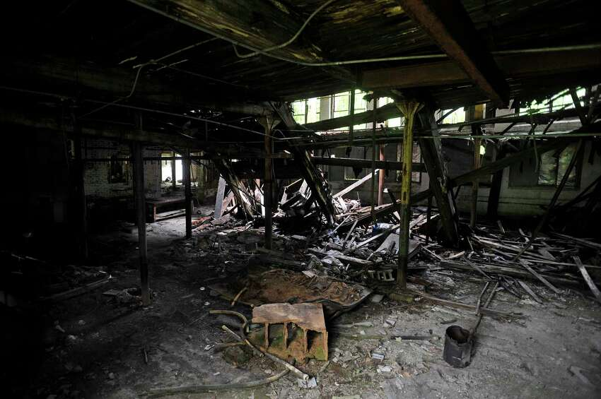 A view inside the last standing building at the former Thompson textile mill site on Tuesday, June 28, 2016, in Valley Falls, N.Y. (Paul Buckowski / Times Union)