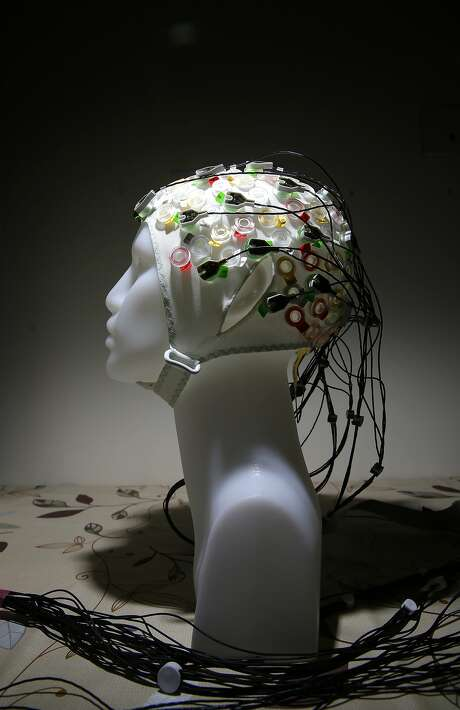 An EEG (electroencephalogram) cap, which is covered with sensors that monitor brain waves. Photo: Michael Macor, The Chronicle