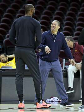 Cleveland Cavaliers' LeBron James and head coach Tyronn Lue during practice at Quicken Loans Arena in Cleveland, Ohio, on Tuesday, June 6, 2017.