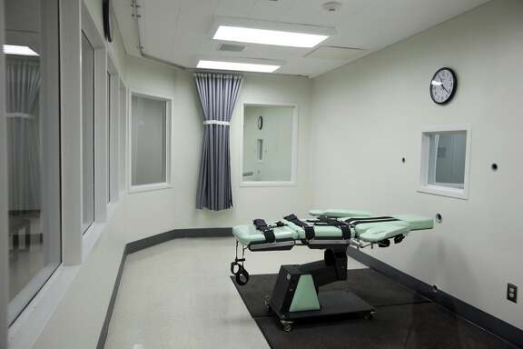 FILE - This Sept. 21, 2010 file photo shows an armrest in the interior of the lethal injection facility at San Quentin State Prison in San Quentin, Calif. The California Supreme Court heard arguments over whether to block a voter-approved measure to speed up executions at a hearing in Los Angeles Tuesday, June 6, 2017. The case was brought by death penalty foes after voters approved Proposition 66 in November. (AP Photo/Eric Risberg, File)