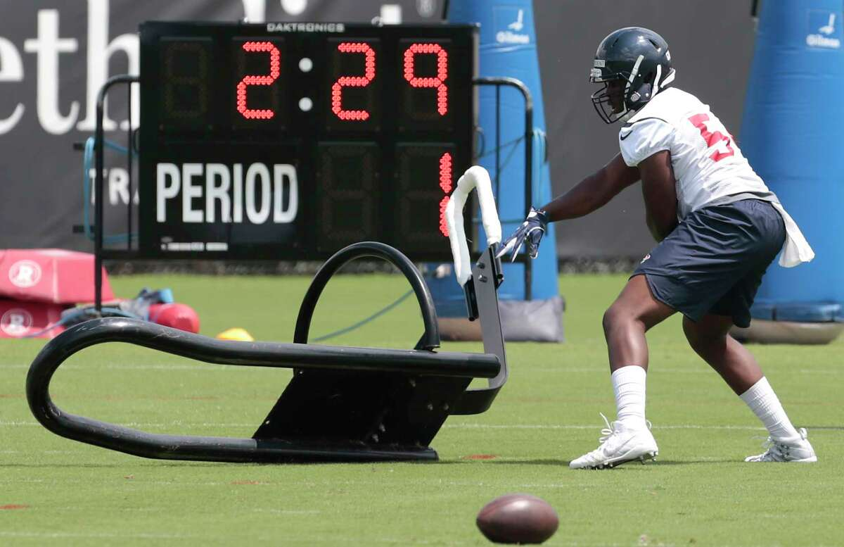 PHOTOS: Texans training camp  Houston Texans linebacker Gimel President (54) hits a blocking sled during OTAs at The Methodist Training Center on Tuesday, June 6, 2017, in Houston.  >>>See photos from Day 8 of the Texans' training camp on Saturday, Aug. 4, 2019 ...