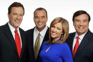 WOAI-TV's chief meteorologist Albert Flores, far right, said he's leaving the television weather business, effective immediately. He's seen here with his team, anchor Randy Beamer, sportscaster Don Harris and anchor Delaine Mathieu.