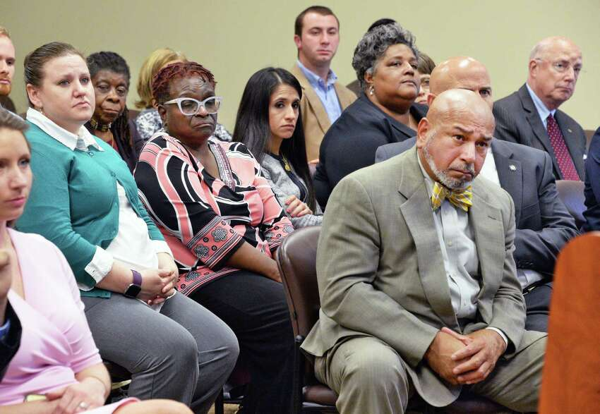 Diversion board members listen as Albany County District Attorney David Soares announces a new series of criminal justice reforms Tuesday June 6, 2017 in Albany, NY. (John Carl D'Annibale / Times Union)