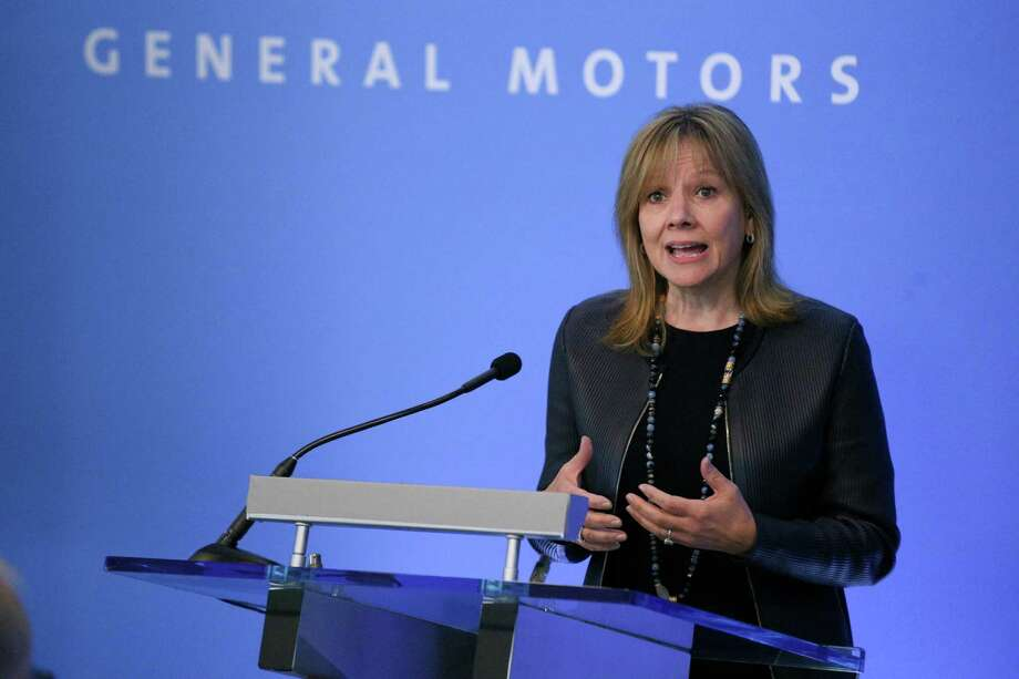 Chairman and Chief Executive Officer of General Motors Company Mary Barra speaks during the General Motors press conference before the Shareholder Meeting at the Renaissance Center in Detroit on Tuesday. Barra says the company will stay on its current course even though the stock markets have yet to reward those efforts. Photo: Kimberly P. Mitchell /Detroit Free Press / Detroit Free Press