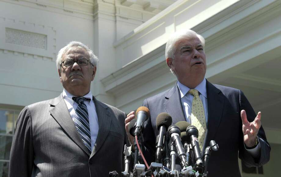 In 2010, Senate Banking Committee Chairman Sen. Christopher Dodd, D-Conn. (right), and House Financial Services Committee Chairman Rep. Barney Frank, D-Mass., speak to reporters outside the White House. House Republicans are targeting financial regulations established by the Dodd-Frank Act after the Great Recession, arguing replacement is needed to spur economic growth. Photo: Susan Walsh / Associated Press / Copyright 2017 The Associated Press. All rights reserved.