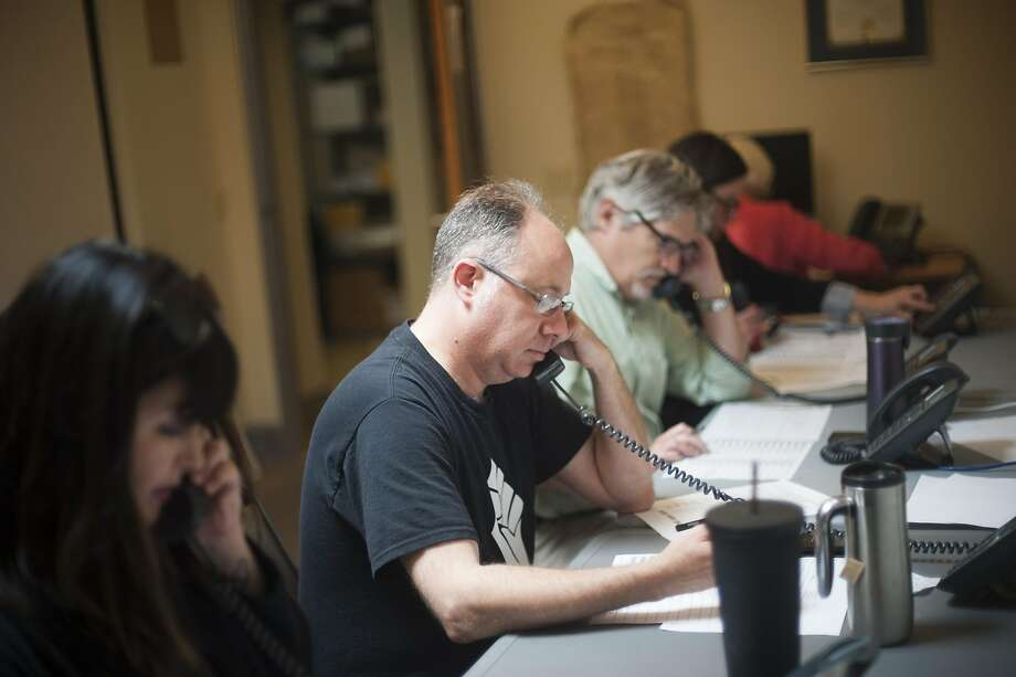 Volunteers make phone calls in support of Santa Rosa's Measure C ahead of the special election on rent control. On Tuesday, the measure was rejected by 52.5 percent of voters. Photo: Brian L. Frank, Special To The Chronicle