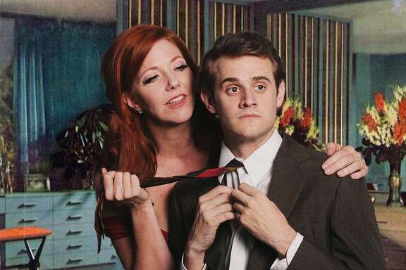 """From left:�Betsy Kruse Craig as Mrs. Robinson and�Max Tachis as Benjamin in Palo Alto Players' """"The Graduate."""""""