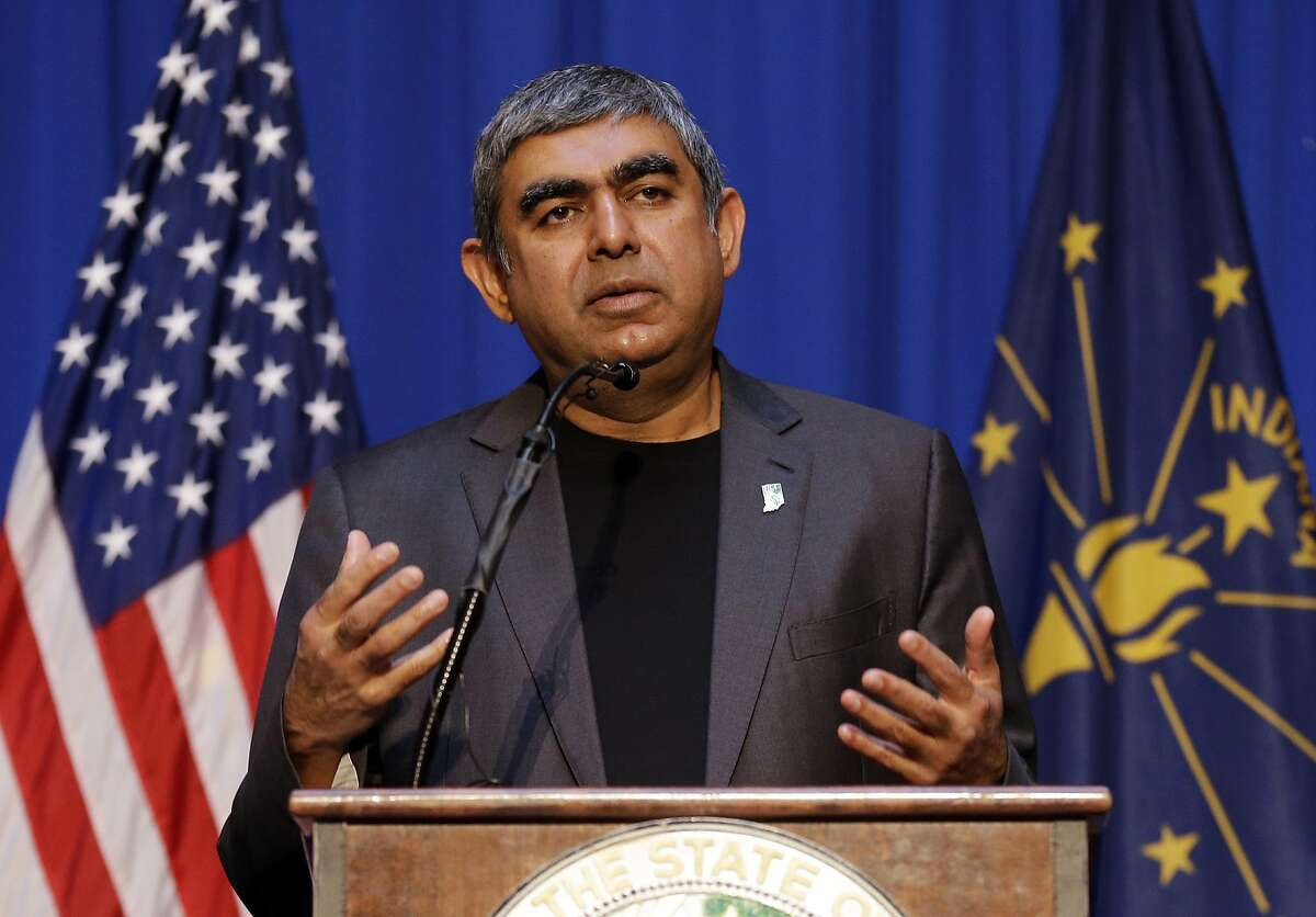 Dr. Vishal Sikka, CEO of Infosys, announces at the Statehouse in Indianapolis, Tuesday, May 2, 2017, plans to increase its operations in the U.S, establishing four new state-of-the-art technology and innovation hubs in the U.S., with the first one in Indiana. (AP Photo/Michael Conroy)
