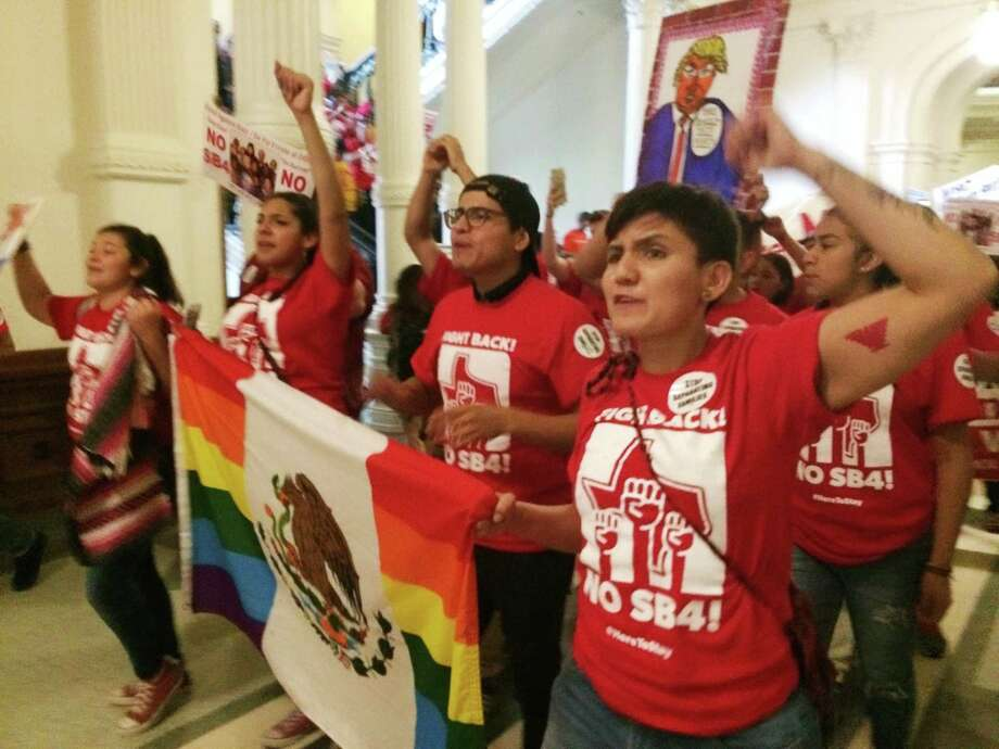 Demonstrators march in the Texas Capitol on May 29, protesting the anti-sanctuary cities bill. The passions reflect the fundamental disregard and misperceptions the law directs toward immigrants. Photo: Meredith Hoffman /AP / AP