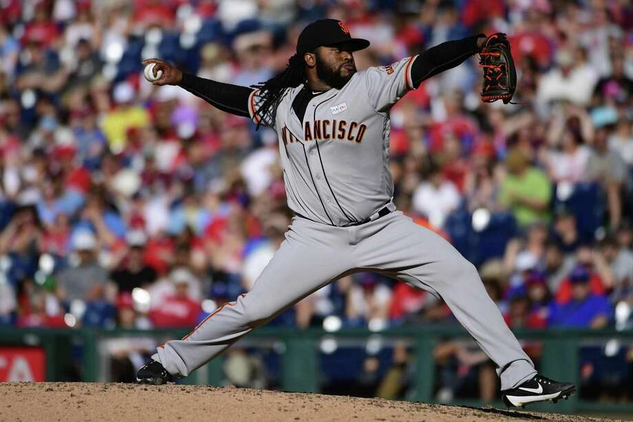 Johnny Cueto of the San Francisco Giants pitches during the bottom of the sixth inning against the Phillies at Citizens Bank Park on June 3, 2017 in Philadelphia. Photo: Corey Perrine /Getty Images / 2017 Getty Images