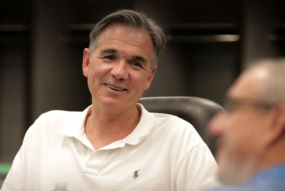 Oakland Athletics' vice president of baseball operations, Billy Beane prepares for the upcoming baseball draft as front office personnel and scouts gather in the war room to look over players, at the Oakland Coliseum on Tuesday June 6, 2017, in Oakland, Ca. Photo: Michael Macor, The Chronicle