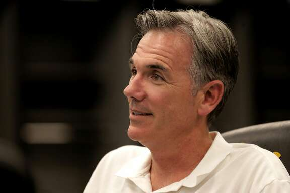 Oakland Athletics' vice president of baseball operations, Billy Beane prepares for the upcoming baseball draft as front office personnel and scouts gather in the war room to look over players, at the Oakland Coliseum on Tuesday June 6, 2017, in Oakland, Ca.