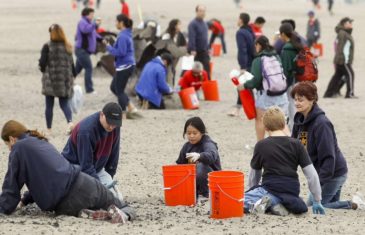 A group from Star of the Sea School, in San Francisco, join crews of volunteers as they span out across Ocean Beach in San Francisco, Ca., on Saturday September 15, 2012, to participate in California's annual coastal cleanup day.