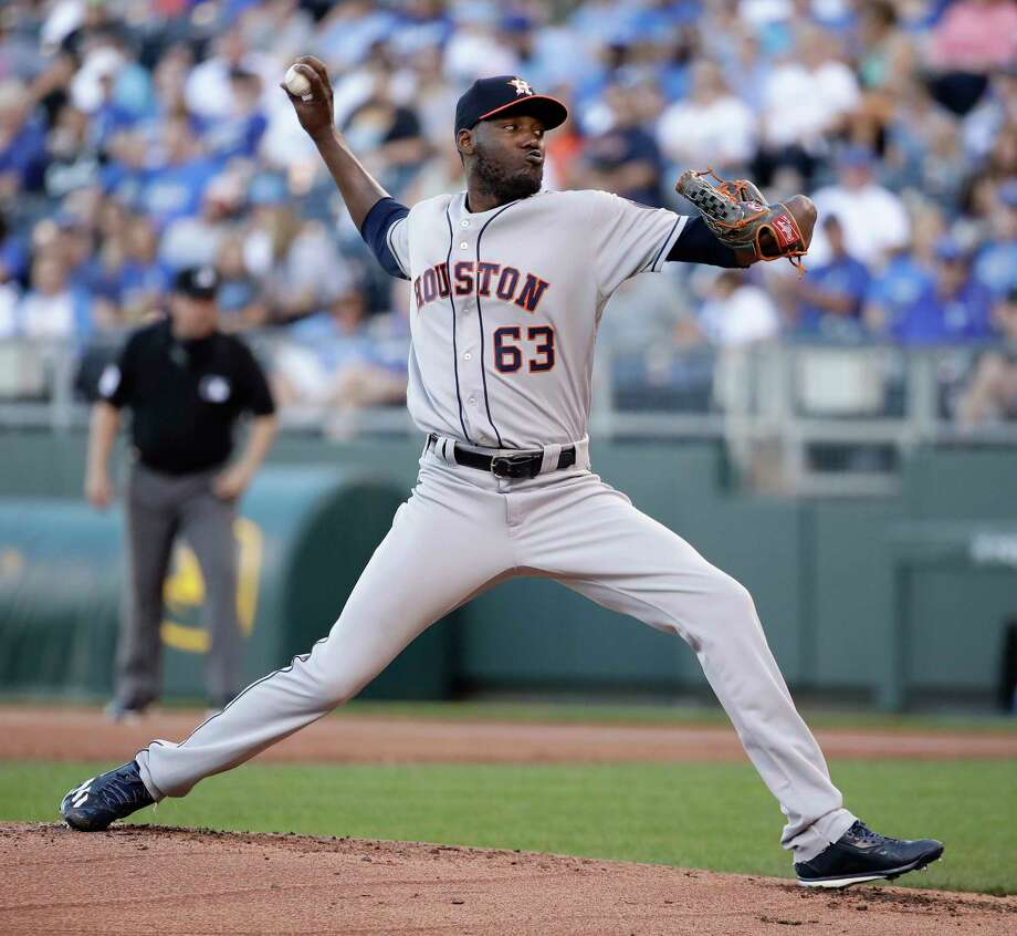 Houston Astros starting pitcher David Paulino throws during the first inning of a baseball game against the Kansas City Royals Tuesday, June 6, 2017, in Kansas City, Mo. (AP Photo/Charlie Riedel) Photo: Charlie Riedel, Associated Press / Copyright 2017 The Associated Press. All rights reserved.