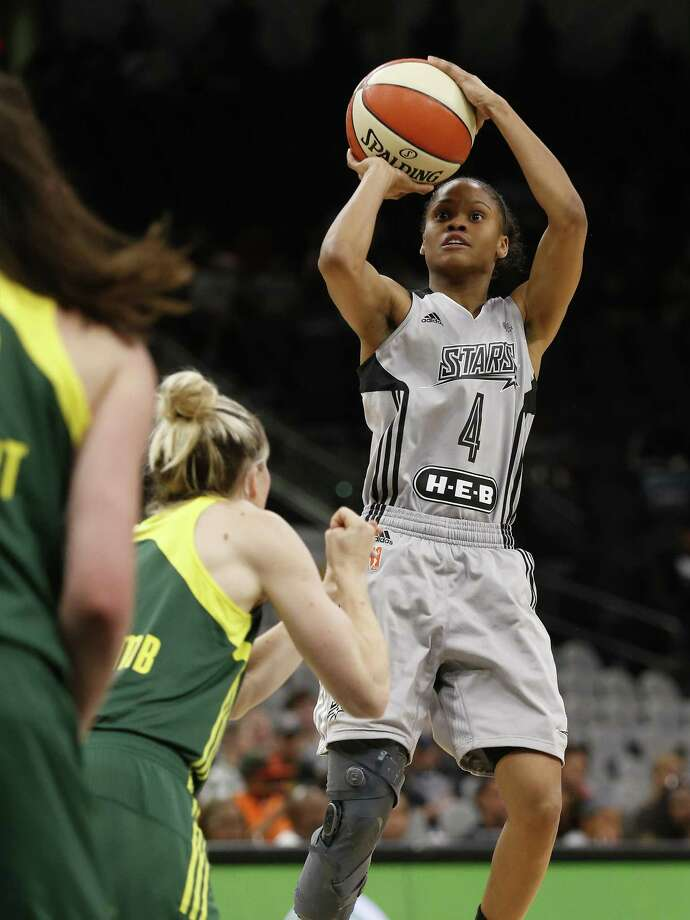 Stars' Moriah Jefferson takes a shot against the Seattle Storm during the second half at
