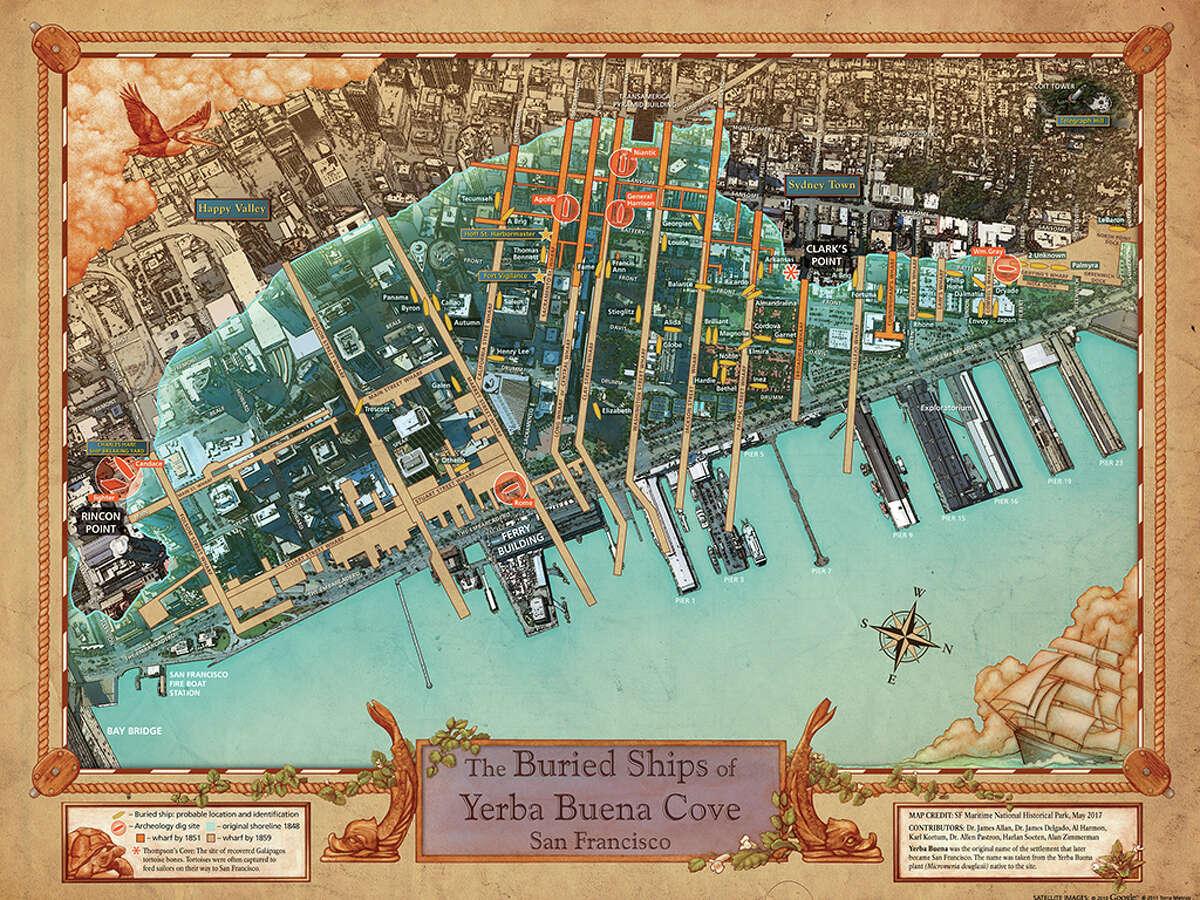The final version of the new buried ship map will be released next month,San Francisco Maritime National Historical Park exhibit curatorRichard Everett said. Some of the map's features are still being refined.
