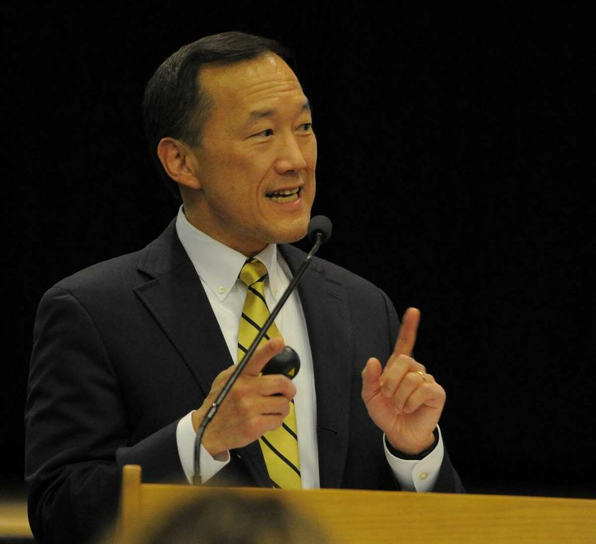 Dr. Earl Kim, Superintendent of Stamford Schools presents an over view of his proposed budget during a Stamford Schools Board of Education public hearing at Westover Magnet Elementary School in Stamford on Feb. 7, 2017. City taxpayers had a chance to weigh in on Kim's $273.4 million operating budget request.