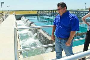 Water Treatment Supervisor Tony Moreno gives a tour of a resevoir treating the raw water at the El Pico Water Treatment Plant on Tuesday, May 2, 2017.