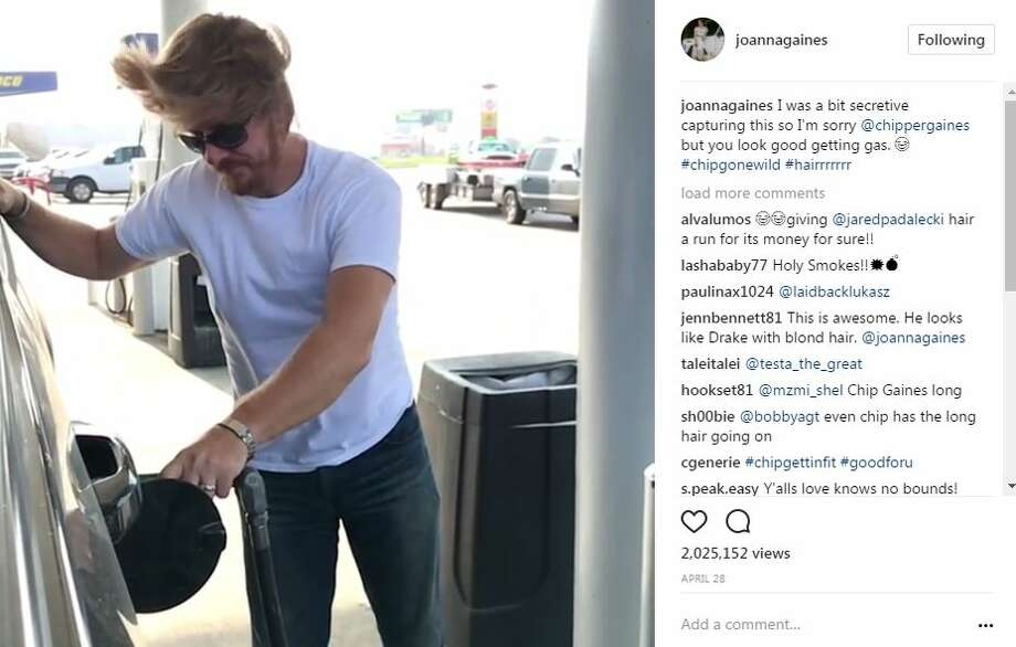 """Chip Gaines is sporting a new look during filming for """"Fixer Upper"""" Season 5. Photo: Joanna Gaines/Instagram"""