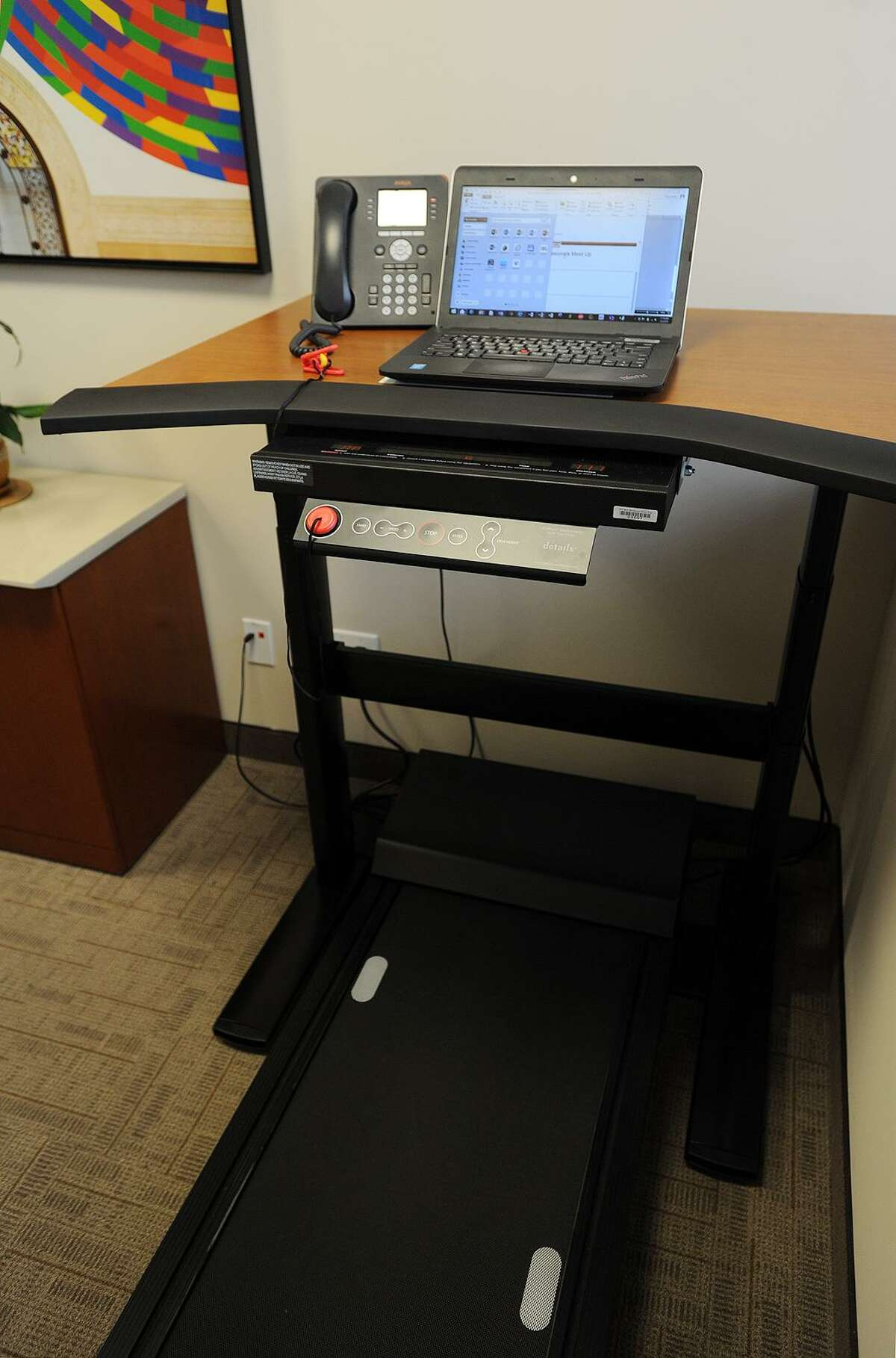 The Steelcase Walking Desk available for use by clients at Symphony Workplaces at 55 Greens Farms Road in Westport, Conn.