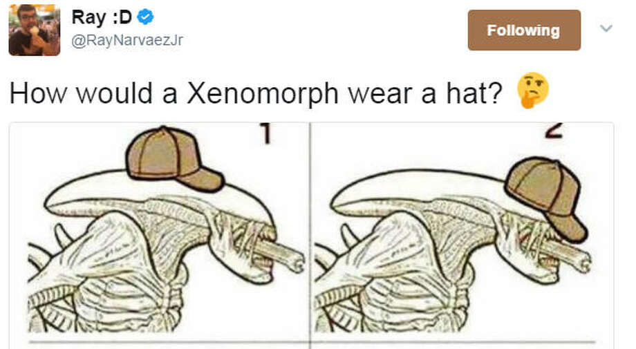 Ray on Twitter asks: How would a Xenomorph wear a hat? (RayNarvaezJr/Twitter)>>Here's another time the Twitterverse won. Click through tweets of Donald Trump's visit to Saudi Arabia and the time he touched an orb...